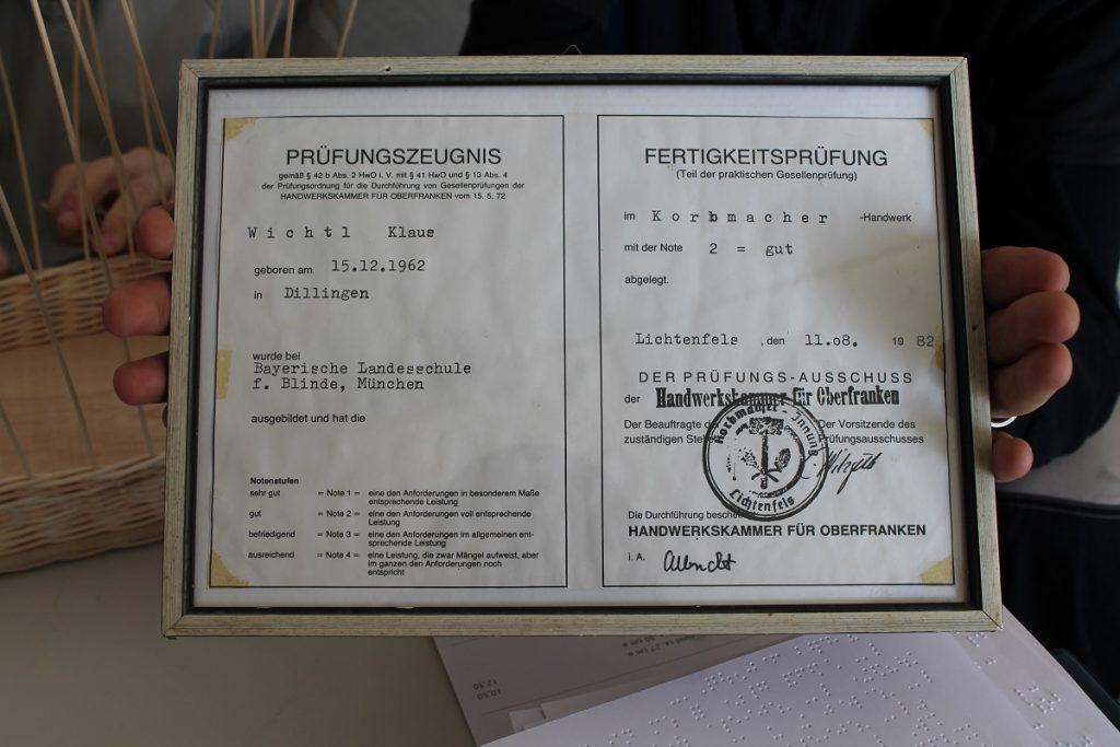 Prüfungszeugnis Korbmacher